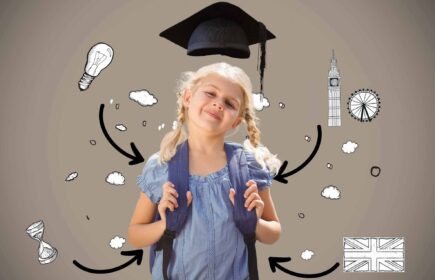 Digital composite image of smiling schoolgirl standing with backpack against various icons and arrow signs